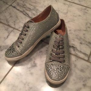 Your Party Shoes Lexi Silver Sparkle Tennis Shoes